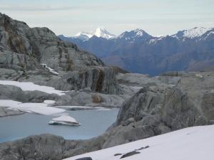 Terminal lake below glacier