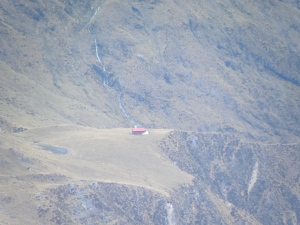 Looking down to Brewster hut