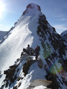 Mixed climbing on the summit ridge of Rosa