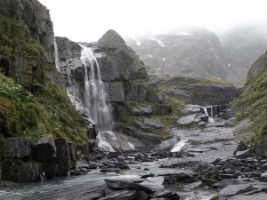 waterfall near lake outlet