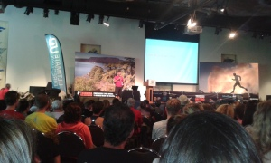 Mal Law delivering key note address at the pre-race expo